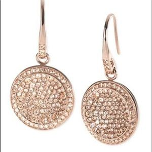 MK GOLD PLATED ROUND PAVE CRYSTAL DESIGNER DANGLE